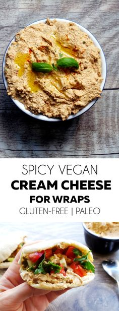 Paleo, gluten-free vegan cream cheese recipe with some spice - perfect for all kinds of wraps or with falafels, or to dip vegetables in it