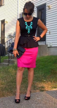 pink, peplum, and bubble necklace