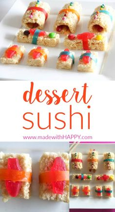 Gilmore Girls Dessert Sushi | Gilmore Girls Party | Read like Rory Shirts | Pop Tart Recipes | Sookie's Blueberry Shortcake | Gilmore Girls Drinking Game | Candy Sushi | Rice crispy treat dessert ideas | www.madewithhappy.com