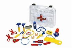 "Learning Resources Pretend & Play Doctor Set by Learning Resources. $25.01. From the Manufacturer                This doctor kit features enough medical tools for a whole team of young doctors to play at the same time. The sturdy plastic 19-piece set includes stethoscope and pager with realistic sounds, battery operated cell phone, forceps, bandages, thermometer and more. Everything fits into a handy 12"" x 14"" x 3 ½ "" plastic clamp-tight case. Batteries for stethoscope a..."