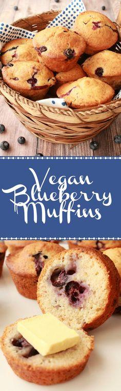 Vegan Blueberry Muffins. Deliciously moist and perfectly sweet! Vegan | Vegan Breakfast | Vegan Dessert | Vegan Muffins | Vegan Food | Dairy-Free