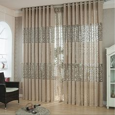 Wish | Fashion Leaf Tulle Door Window Curtain Drape Panel Sheer Scarf Valances Coffee summer