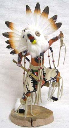 "Navajo-Hopi Carved 19"" Wht Owl Warrior Kachina Doll Sculpture by Sammie Walker"
