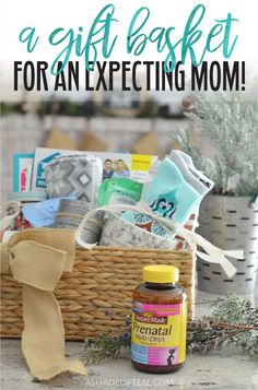 A Gift Basket for an Expecting Mom! A Gift Basket for an Expecting Mom! Made with Nature Made® Prenatal Multi + DHA from Sam's Club! Pregnancy Gift For Friend, Gifts For Pregnant Friend, Pregnancy Gift Baskets, Gifts For Pregnant Women, Gifts For Expecting Parents, Pregnancy Gifts, Pregnancy Quotes, Diy Gifts New Mom, New Mom Gift Basket