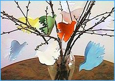 Tauben für den Frühlingsstrauss basteln im kidsweb.de