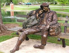 """Departure"" by George Lundeen in Loveland, CO. Artist statement: ""The original piece came from a sketch I did in the Rome train station. There were a couple of kids across from me on the marble floor. It became the first life-size piece I ever did."""