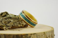 Wood inlay ring | chrysocolla ring | wood jewelry | wood wedding band | Bentwood walnut ring with maple liner and maple and chrysocolla