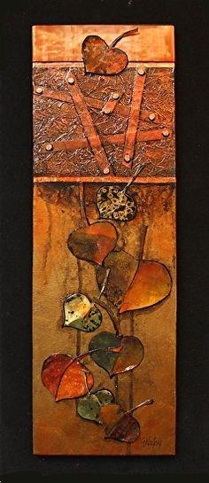 "Abstract Mixed Media Art,Nature Art,Tree Leaves ""Autumn Elegy"" by Colorado Mixed Media Abstract Artist Carol Nelson-http://carolnelsonfineart.com/workszoom/1185295 #buyart #cuadrosmodernos #art"