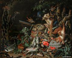 Abraham Mignon - Le nid de rouges guenes a front blanc