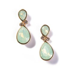 Kolczyki Mint Green pozłacane 24-karatowym złotem i ozdabiane kamieniami Swarovski Crystals.