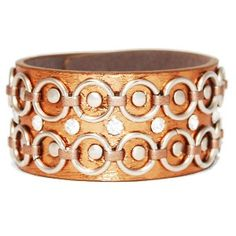 Bronze Hoop Faux Leather Cuff