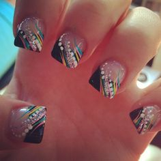 Black tips with multi colored art  USE PINK THO FOR SUMMER NAILS