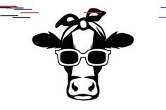 Female Cow with Bandanna and Sun Glasses Weibliche Kuh mit Kopftuch und Sonnenbrille SVG-Cut-Datei von Creative Fabrica Crafts – Creative Fabrica Silhouette Projects, Silhouette Cameo, Female Cow, Cute Cows, Affinity Designer, Cricut Creations, Laptop Decal, Vinyl Designs, Art Plastique