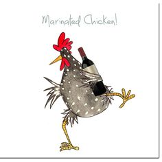 Chicken Card - Marinated Chicken Greeting Card - Funny Chicken Birthday Card, Blank Inside - Chicken card with picture from an original watercolor painting empty 145 x (suitable for UK l - Chicken Painting, Chicken Art, Watercolor Artwork, Watercolor Cards, Chicken Humor, Funny Chicken, Chicken Quotes, Chickens And Roosters, Illustration
