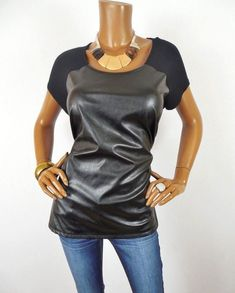 120948455b2 INC Womens Top L Black Shirt Faux Leather Front Short Sleeve Stretch Blouse   INCInternationalConcepts  Blouse  Casual