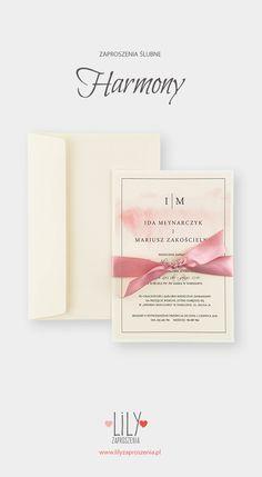 ZAPROSZENIE ŚLUBNE HARMONY  Zaproszenia ślubne  wykonane matowym papierze ecru w delikatne prążki o gramaturze 300g. Całość przewiązana kokardą. #zaproszenia #zaproszeniaslubne #weddinginvitations #slub #wedding #drukowane #printable #ecru #kokarda #bow Place Cards, Place Card Holders