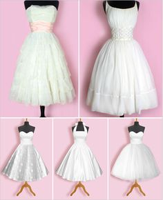 retro wedding dresses! the bottom right one is the exact dress i want!!!!
