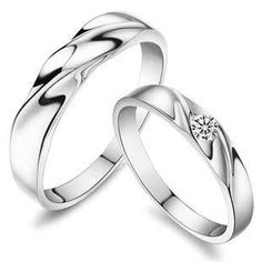 Sterling Silver Couple Rings without Rhinestone for Men and couples