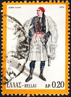 GREECE - CIRCA A postage stamp printed in the Greece shows man in Greek national folk dress, circa 1973 photo Greek Traditional Dress, Traditional Outfits, Greece Pictures, Stamp Auctions, Stamp Printing, Picture Postcards, First Day Covers, Stamp Collecting, My Stamp