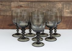 Vintage Smoke Black Goblets Wine Glasses Set of by PendletonMarket -- SOLD