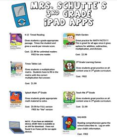 List of 3rd grade reading and math APPS