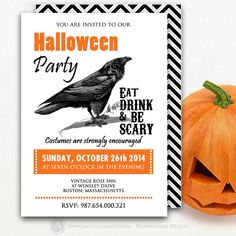 "Halloween Invitation Printable INSTANT DOWNLOAD Editable Party Invite Flyer Black Crow & ""Eat, Drink and be Scary"" 5x7 DIY Card + 2 Backside"