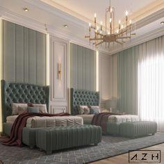 Hotel Room Design, Room Design Bedroom, Home Decor Bedroom, Master Bedroom Interior, Modern Bedroom, Mint Bedroom, Luxurious Bedrooms, House Rooms, Interiores Design