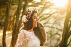 A long-sleeved Mariana Hardwick wedding gown and her pretty flower crown   I Take You