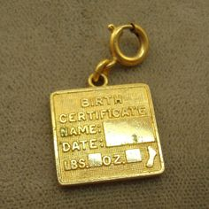 Birth Certificate Charm by AntiqueAli on Etsy