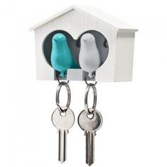 QUALY DESIGN Maison porte-clés duo Oiseaux blanc et bleu turquoise  22,00 €