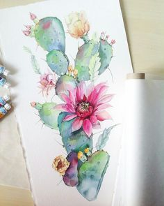 55 Very Easy Watercolor Painting Ideas For Beginners - FeminaTalk Painting is a real good stress buster. There are hundreds of Easy Watercolor Painting Ideas for Beginners that you can try out without any hassle. Cactus Painting, Watercolor Cactus, Cactus Art, Easy Watercolor, Painting & Drawing, Water Color Painting Easy, Watercolor Beginner, Cactus Drawing, Cactus Flower