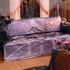 halloween torture coffin sofa cover iam sure the kinds would find this tons of fun to hide in lol