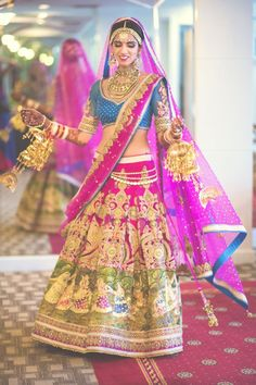 Nishka Lulla in Neeta Lulla - lehenga - bride - blue - pink - gold - Indian fashion - Indian couture - fashion- wedding