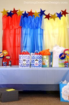 Use plastic tablecloths from the *dollar store* to decorate for parties!