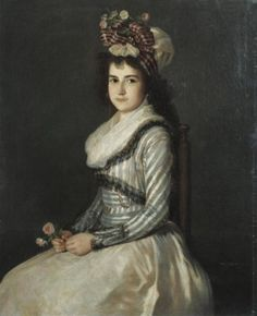 Portrait of a Young Woman Holding Two Roses. Agustín Esteve y Marqués, ca. 1790.  Sold at Southebys, 2007
