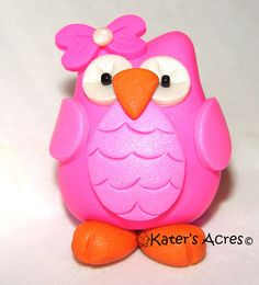 CHUBBY OWL  Polymer Clay Animal  Made to Order  You by KatersAcres, $14.00