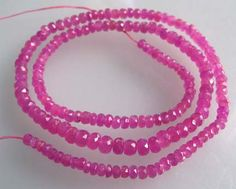 "AA Pink Sapphire Faceted 3 to 4mm Rondelle Beads 17""$110.00"