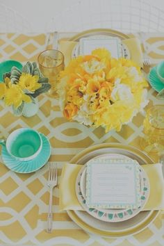 Tobi Fairley: Spring Party - Yellow and Mint