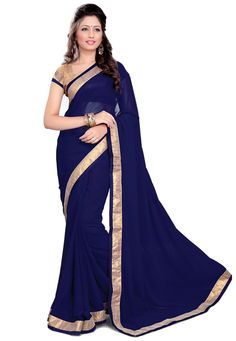 Dark Blue Faux Georgette Saree with Blouse: SBH519