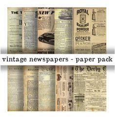 VINTAGE NEWSPAPERS Paper Pack Digital Papers  10 by DigitalAlice