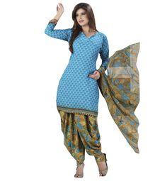 Crepe #Blue #Printed Unstitched #Patiala Suit - Q1004 at Rs 715