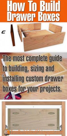 Woodworking Designs Learn how to build drawer boxes, how to determine the right size and how to install them. Great tutorial on how to build drawers for the DIY'er. Easy to build even if you only have minimal tools. Popular Woodworking, Fine Woodworking, Woodworking Crafts, Woodworking Joints, Youtube Woodworking, Woodworking Videos, Woodworking Machinery, Woodworking Workbench, Woodworking Techniques