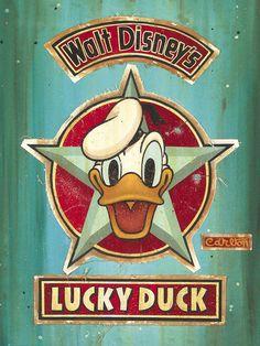 Trevor Carlton - Luck Duck Lot 3 Giclee On Hand-Painted Mixed Media Canvas - Disney Fine Art Cartoon Posters, Disney Posters, Cartoon Art, Disney Vintage, Vintage Cartoon, Disney Duck, Disney Mickey, Walt Disney, Posters Vintage