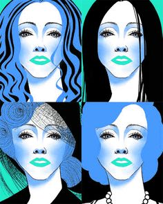 #blue #Madonna #portrait #graphic #drawing #illustration by Melody Shi, via Behance