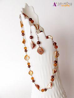 Copper Orange necklace sea shells shell by APlusJewelryCrafts, $15.00