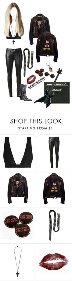 """""""Untitled #105"""" by haxan ❤ liked on Polyvore featuring Zimmermann, Yves Saint Laurent, Philipp Plein, Harley-Davidson, Balmain, Forever 21, Chicnova Fashion, Leather, rock and goth"""