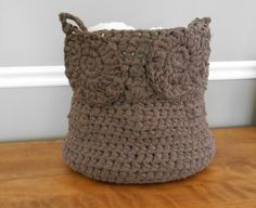 Ready to Ship Handmade Large Owl Basket. Crocheted Brown Owl Basket made from upcycled sheets on Etsy, $50.00