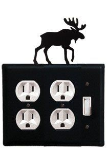 Moose - Double Outlet and Single Switch Cover by Village Wrought Iron. $17.12. Moose - Double Outlet and Single Switch CoverApprox. 6 1/2 In. W x 8 In. H Please allow 4 to 6 weeks for delivery.