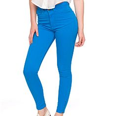 American Apparel Women's Four-Way Stretch Electric Blue High-Waist Pants