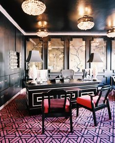 Living room design by Maison 140 Beverly Hills Home Office Design, Home Office Decor, House Design, Home Decor, Office Rug, Office Floor, Office Chic, Office Spaces, Hollywood Glamour